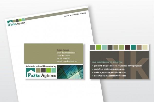 Visitekaartjes en Briefpapier Fokko Agteres - advies in ruimtelijke ordening