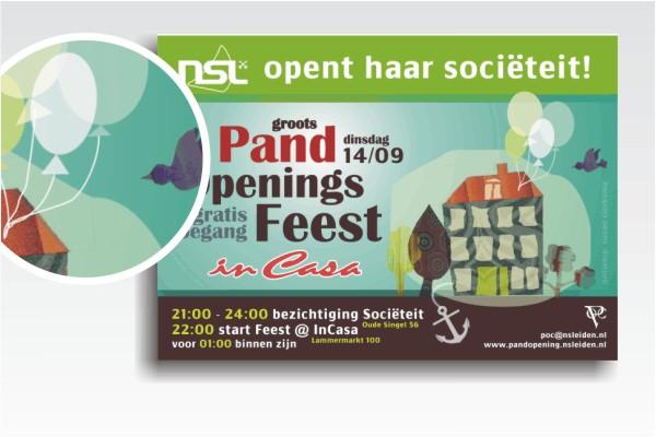 Poster / Flyer Openingsfeest van het pand van Navigators Studentenvereniging Leiden